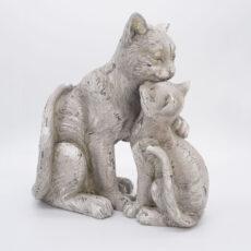 Katzenfigur Mutter & Kitten