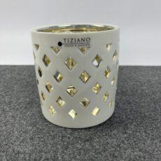 Tiziano Windlicht weiß-gold